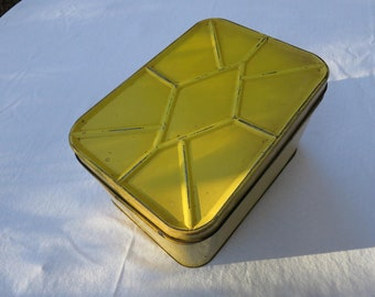 Vintage Yellow Metal Picnic Basket, Bread Box, Tin Box, Kitchen Container with a Premium Cracker Tin
