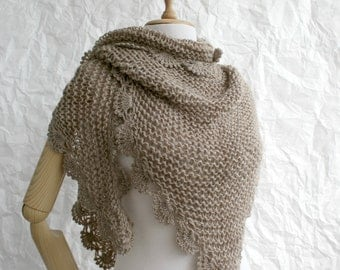 Hand Knitted Milky Brown Fawn Color Triangle  Midi Shawl scarf collar Capelet Cowl Mother's Day gift