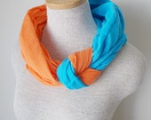 Tangerine and Peacock Blue Knot Scarf