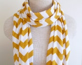 READY TO SHIP - Chevron Infinity Scarf - Jersey Knit - Mustard and White