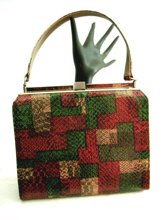 Vintage 50s 60s Handbag Faux Lizard Patchwork Kelly Style Mad Men RAB VLV
