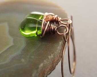 WHILE SUPPLIES LAST - Apple green glass copper earrings - Dangle earrings - Drop earrings - ER057