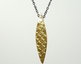Marquis Slender Charm with Scales, designer jewelry, exotic jewelry, charm, talisman, gold necklace