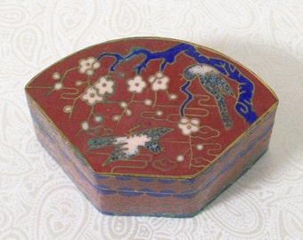 Dogwood Blossoms Cloisonne Box Maroon Trinket Brass Enamel Ring Vintage