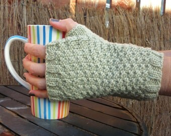 Sage Green Hand Knitted Double Moss Stitch Fingerless Gloves - Naturally Dyed Merino Wool - Organic Accessory - Ready to Ship