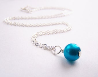 Sky Blue - Glass Pearl Necklace - Matching earrings and bracelet available - other colors - sets - weddings - FREE shipping wai - Holiday