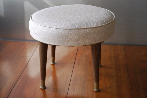 Round Beige Danish Modern Splayed leg Foot Stool