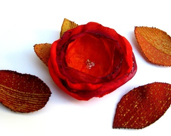Red fabric flower, flower pin, red flower brooch