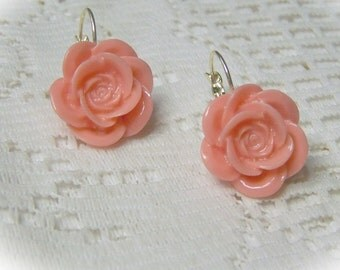 Coral Rose Dangle Earrings - Silver - lever back - Autumn Rose