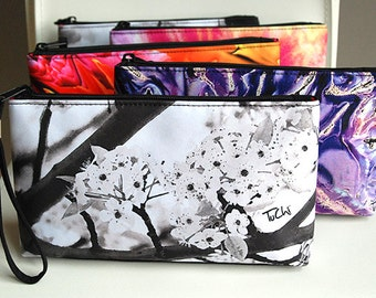 Zippered Clutch, Bridal Party Wristlet. Abstract Floral Photography.  Shown in Black Cherry and Flame Designs.