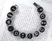 Antique Typewriter Bracelet With Random Keys All Black - Vintage Typewriter Key Jewelry From HauteKeys