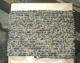 Antique 1920's Flapper Beaded Trim with Metallic Gold threads Yardage Art Deco vintage supplies Various blue beading