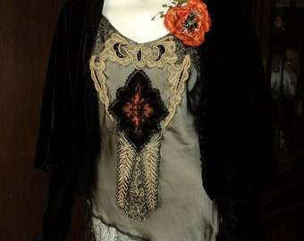 """Bellasoiree Original """"Opium"""" custom silk camisole tunic with antique trims and metallic laces Flower Pin not included"""
