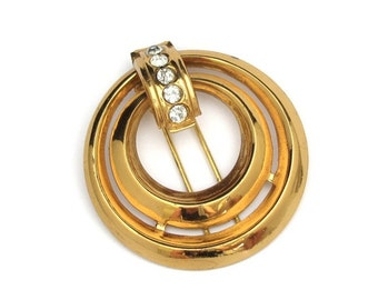 Coro Pin, Vintage Wedding Pin, Fur Clip, Vintage Fur Clip, Vintage CORO Fur Clip Rhinestone Double Ring Vintage Gold Tone Designer Signed