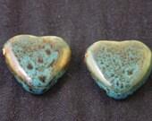 2 porcelain blue hearts