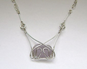SALE! - Sea Glass Jewelry - Sterling Purple Sea Glass Necklace With Handmade Chain