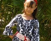 Girls Black White Tunic Dress Delovely Damask Handmade 6mos to 12 With Sash
