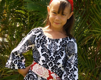 Girls Black White Tunic Dress Delovely Damask Handmade 6mos to 12 With Sash
