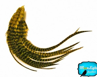 Real Hair Feathers, 1 Dozen - MEDIUM YELLOW Grizzly Rooster Hair Extension Feathers : 626