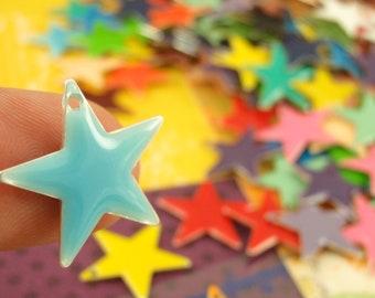 25 - 17mm Colorful Star Drops - Handmade Jump Rings Included - 100% Guarantee
