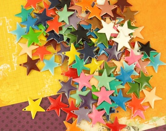 25 Colorful Star Drops - Charms - You Pick 12mm or 17mm - Handmade Jump Rings Included - 100% Guarantee