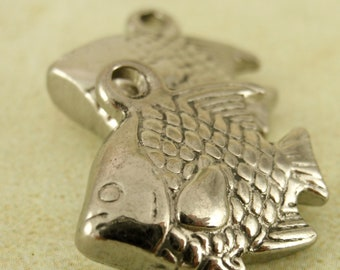 1 Stainless Steel Fish Charm - 18mm x 13mm - Handmade Jump Rings Included - 100% Guarantee