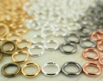 100 Soldered Closed Jump Rings 18 gauge 6mm OD - Best Commercially Made - Silver Plate, Gold Plate, Antique Gold, Gunmetal, Copper
