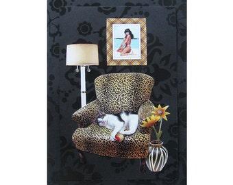 cat collage, betty page, leopard chair, cat art, pet portrait, cat portrait, black, home decor, custom art, tagt team