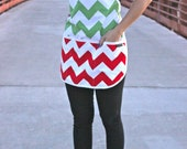 Red and Green Chevron, full size apron, one size fits all, great gift and stocking stuffer