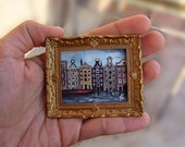 "Miniature Original Acrylic Painting ""Old Amsterdam"" with Gold Frame"