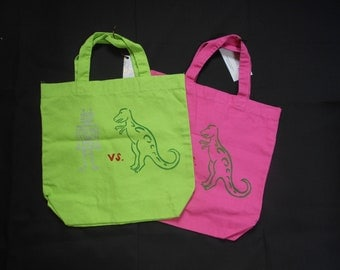 Robot vs. Dinosaur silk screened tote bag