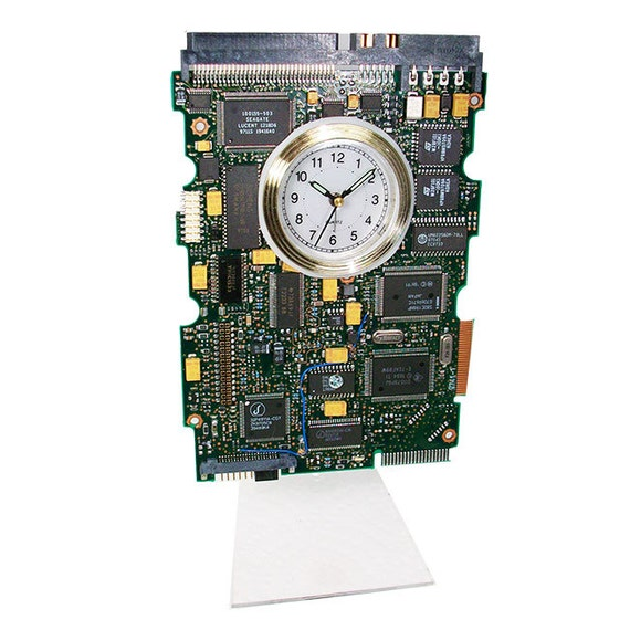 circuit board alarm clock gadget from recycled computer hard