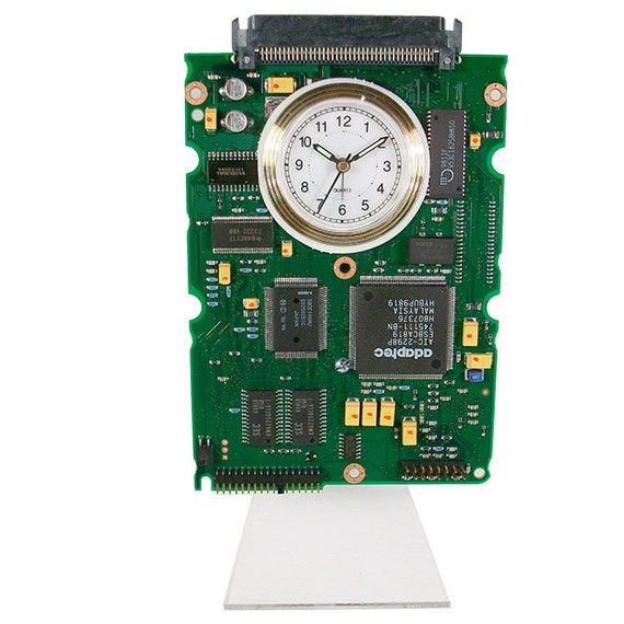 circuit board alarm clock from recycled computer hard drive
