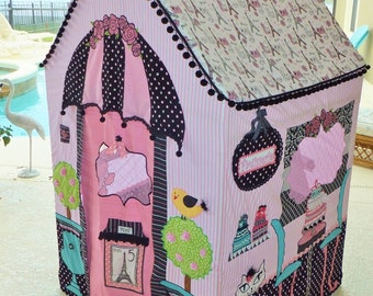 "Made-to-Order -  Paris Boutique & French Bakery Pink and Black Girls Playhouse - ""The Lacy"" Design"