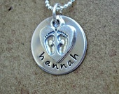 New Baby Necklace - Hand Stamped New Mom Necklace with Baby Feet Charm - Sterling Silver