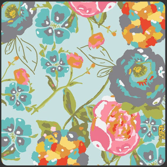 1 Yard Cut Fabric Garden Rocket Turquoise from LillyBelle