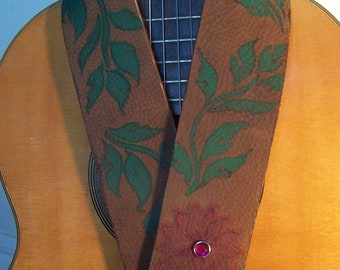 Red Lotus GreenLeaf  Rustic Brown Leather Guitar Strap