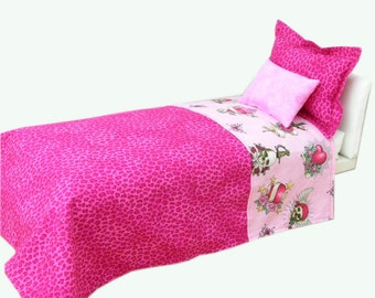 Pretty Pink Pirates Doll Bedding Set fits 15 to 18 inch American Girl Doll- doll bed -Waldorf doll