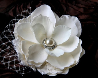 Lauren-Ivory Hair Flower with Vintage Lace, Birdcage Netting and Pearl and Rhinestone Vintage Button