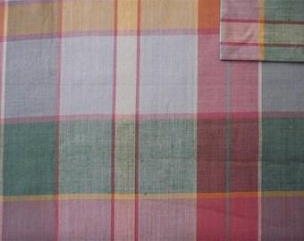Vintage Fabric 80's Cotton, Plaid, Pastel, Material, Textiles