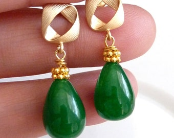 Green Onyx with 16K Gold Plated Fancy Twisted Square Post Earrings