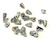 Glass Spike Beads - Magic Clear Vitrail Bohemian Czech Glass Spikes (8mm) - Czech Beads - Handmade Spike Beads