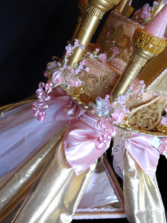 Items similar to pink and gold princess castle centerpiece