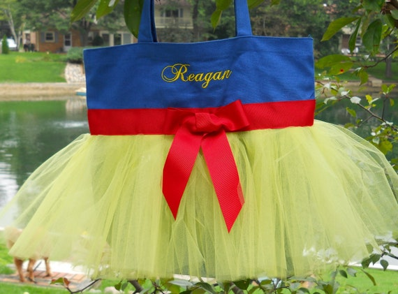 Tutu ballet tote bag, dance bags - Embroidered Dance Bag - Royal Blue tote bag with yellow tulle and red ribbon tutu bag - TB151 - Est