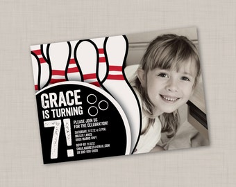 Bowling Birthday Photo Invitation (2A) -- Print Your Own