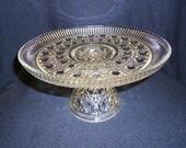 Vintage Pressed  Glass Pedestal Cake Stand Plate Wedding Desert Table
