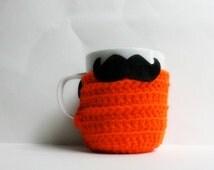 Halloween Coffee Cozy Mug Cozy Tea Cup funny Handlebar Mustache orange black cover