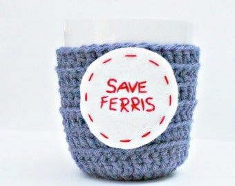 Funny Coffee Mug Cozy Tea Cup blue gray red crochet handmade cover