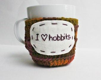 Coffee cozy, mug cozy, tea cup, crochet, handmade, cover, hobbits, love, Lotr, Tolkien, fantasy, funny