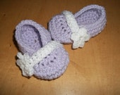 Mary Jane Baby Booties with Flower Strap